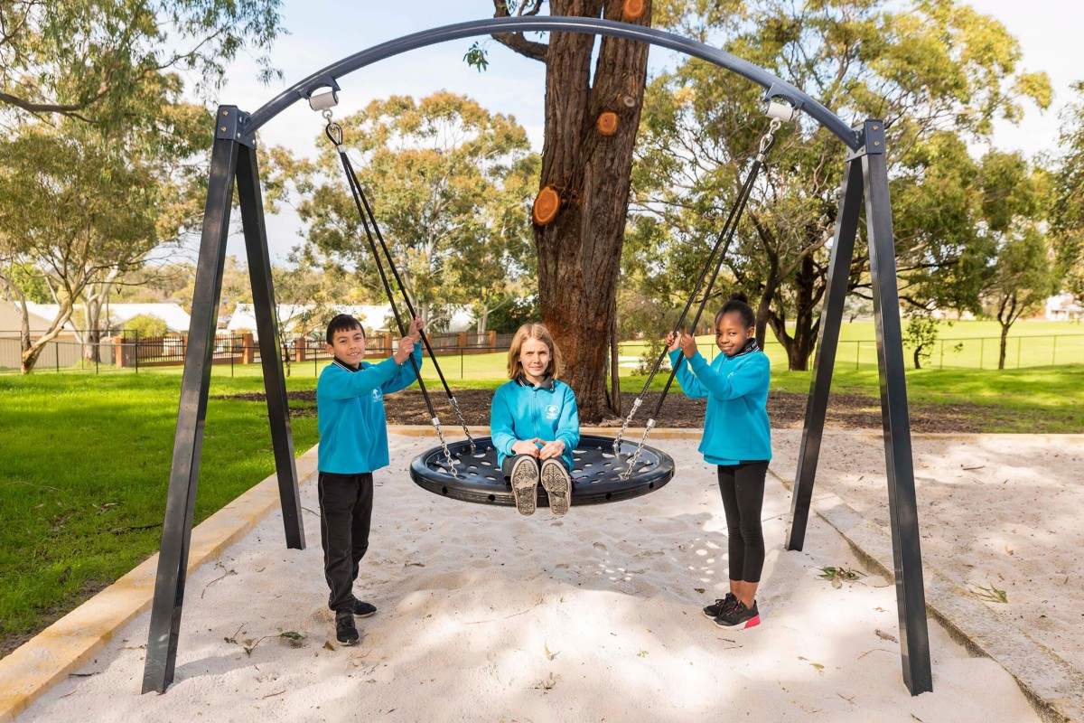 Ashfield Primary students on new swing